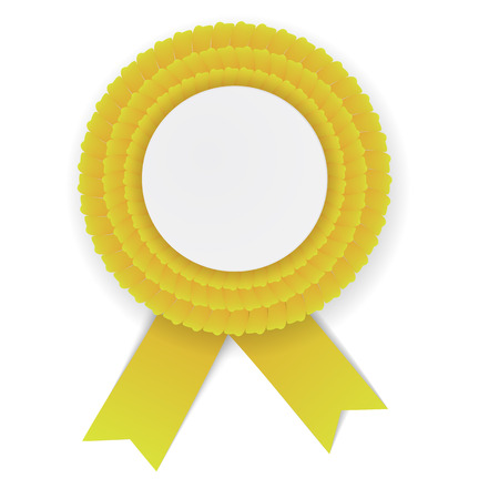 Kleurrijke gele rozet met lege papieren plaat. Plaats voor tekst. Eps10 vector ontwerp.