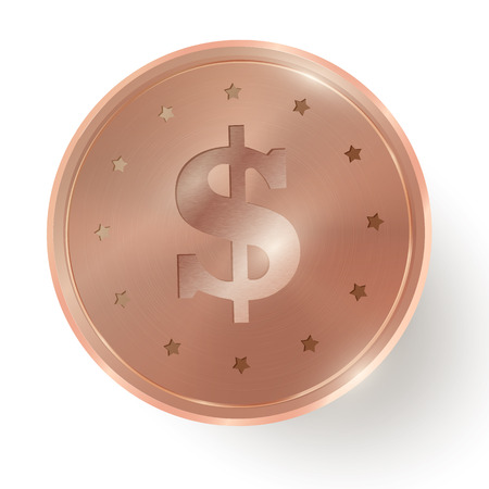 cent: Copper coin on white  background. Vector design Illustration
