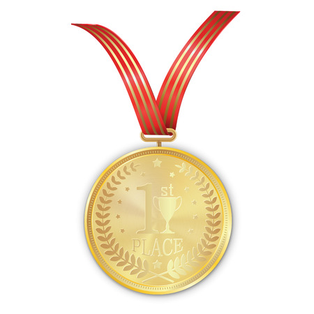 article icon: Vector gold medal on red ribbon with gold strip of laurel wreath and reflections conceptual of an award for victory winning first placement achievement or quality on white background Illustration