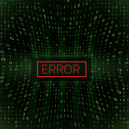 System Error Digital Numbers Background. Error in Program. Server Hacked Concept. Vector Illustration.