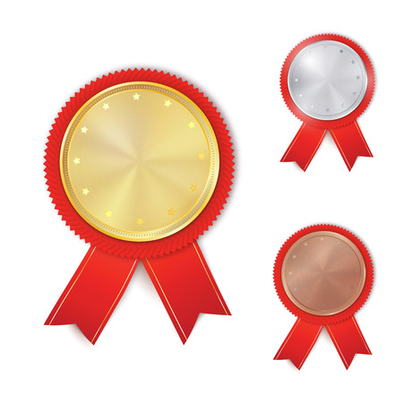 Set of gold, silver and bronze award medals. Rosettes with red ribbons. Medal, rosette vector collection isolated on white background. Premium badges. Winner awards. Illustration