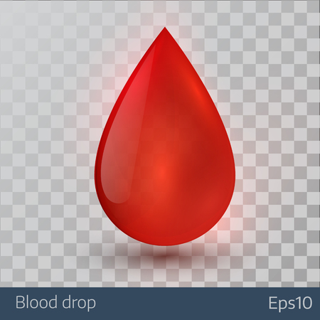 Single blood drop isolated on white background. Illustration