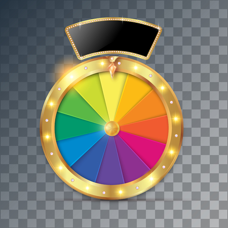 wheel of fortune 3d object. Vector illustration on transparent background Ilustracja
