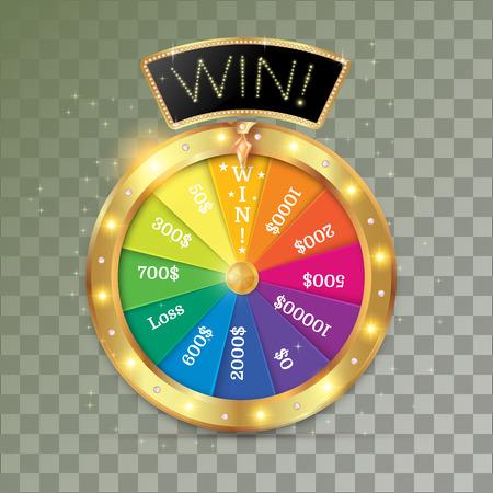 wheel of fortune 3d object. Vector illustration on transparent background Ilustracja