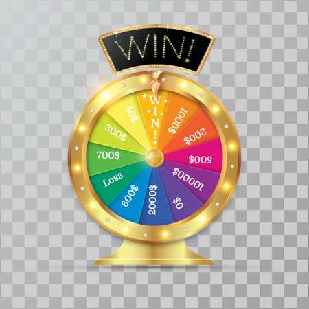 wheel of fortune 3d object. Vector illustration on transparent background Stock Illustratie