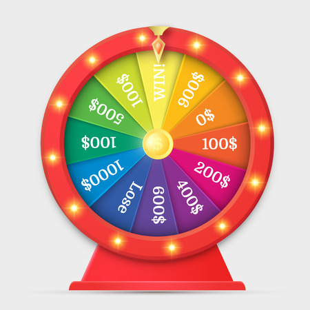 Red wheel of fortune 3d object isolated on white. Vector design. Illustration