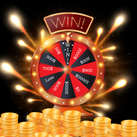 Realistic 3d spinning fortune wheel, lucky roulette vector illustration. Win. firework explosion. Ilustrace