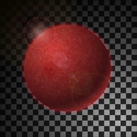 Realistic glowing Mars planet Isolated. Glow with transparency. Lighting effects. Glowing planet. Realistic space object. Stock Photo