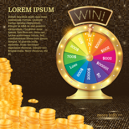 Realistic 3d spinning fortune wheel, lucky roulette illustration. Win. firework explosion. Gold coins stack.