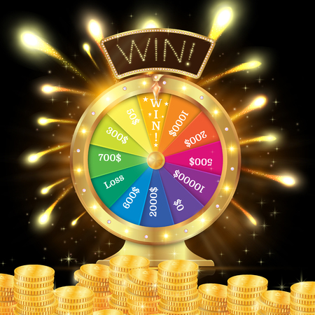 Realistic 3d spinning fortune wheel, lucky roulette illustration. Win. firework explosion. Gold coins stack. Reklamní fotografie - 83306345