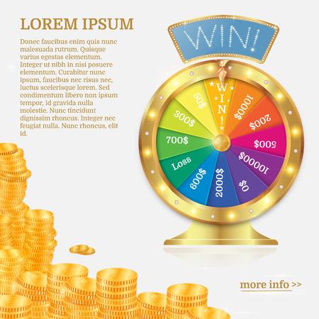Fortuin-draaiwiel in vlakke stijl. Het gokken concept, wint pot in casinoillustratie. Gouden muntenstapel. Vector Illustratie