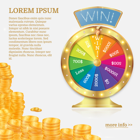 Fortune spinning wheel in flat style. Gambling concept, win jackpot in casino illustration. Gold coin stack. Illustration