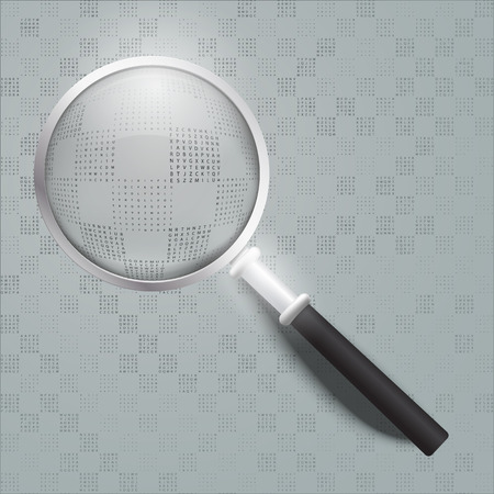 Screen full of alphanumerics depicting encryption and the word password emphasized by a magnifying glass. vector illustration
