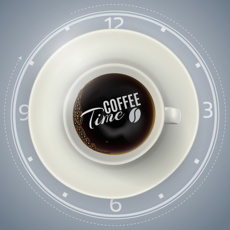 long bean: White coffee cup on the plate, top view, realistic vector. Coffee time concept.