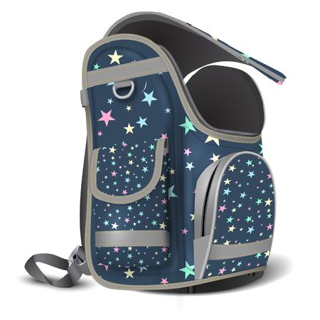 빈 열린 학교 가방입니다. 당신의 물건을위한 장소. 흰색 배경에 현실적인 그림입니다. 스타 패턴 질감입니다. 벡터 일러스트 레이 션. 외딴.