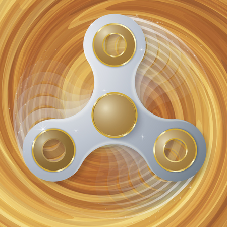vector illustration of white luxury Hand spinner with motion blur effect. Popular relaxation toy sign rotating on Swirling  background.