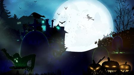 Sfondo di notte di Halloween con zucca, casa stregata e luna piena. Modello di volantino o invito per la festa di Halloween. Illustrazione vettoriale