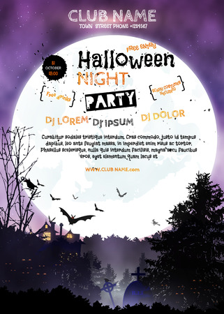 Vertical poster Halloween night party. Invitation  template. Halloween landscape, black forest, full moon, haunted house. Illustration