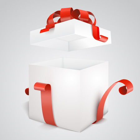 reveal: Open gift box with red bow isolated on white. Vector illustration eps 10.  Design template. Illustration