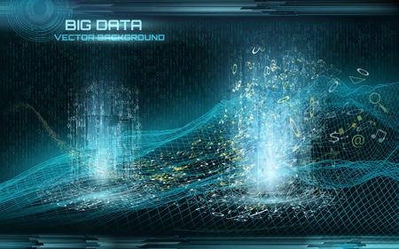 Big data visualization. Cyberspace landscape. Data flow.  Data transfer. Binary code.  Retro style.  Futuristic background Çizim