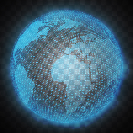 Vector illustration of the virtual hologram communication system of the planet EarthCommunications.