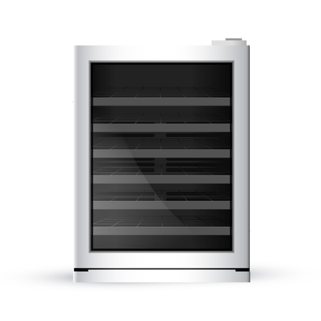 Vector illustration of modern realistic fridge on white background. Bottom-Freezer Refrigerator.