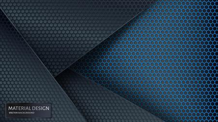 Zusammenfassung Vektor Hintergrund. Überlappendes Kohlenstoffgitter. Material Design Stil.