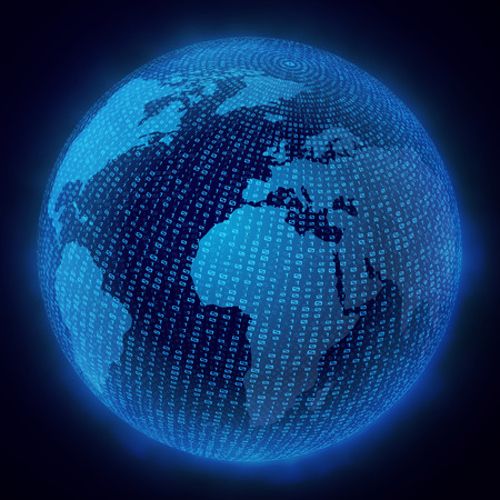 globe grid: Vector illustration of the virtual hologram communication system of the planet EarthCommunications.