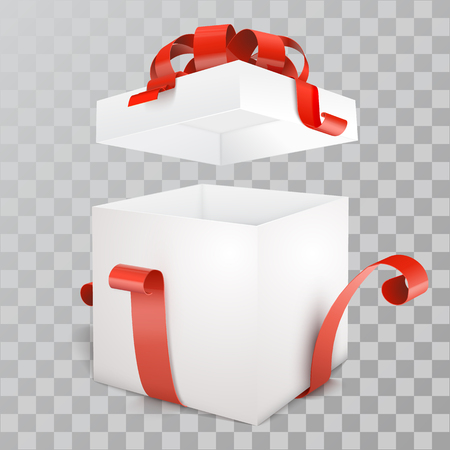 Vector white open empty gift box with red ribbon on transparent background.