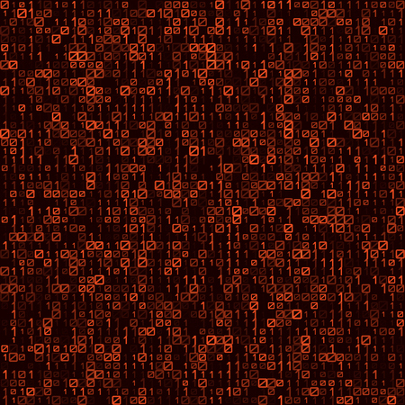 Abstract technology red seamless pattern background. Binary computer code.
