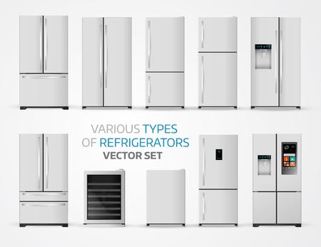 Variabele soorten koelkasten. Realistische set op witte achtergrond.