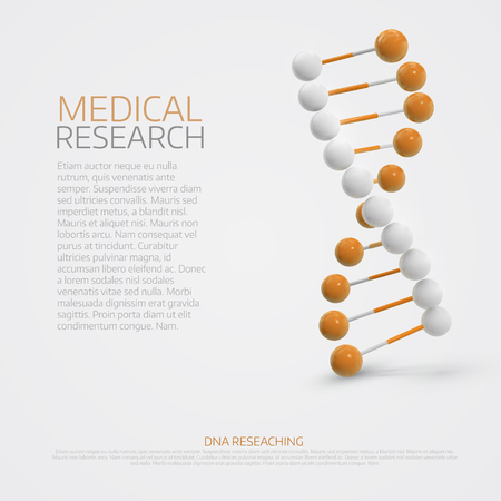 Abstract colorful medical background with 3d Dna molecule. Poster or cover template. Illustration