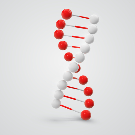 Abstract colorful Dna molecule isolated on white background.