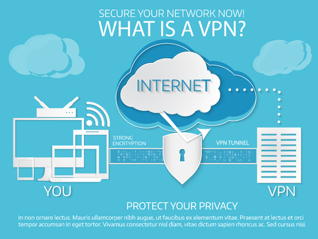 What is a vpn. Infographic template. Paper cut style. Vector illustration on blue background