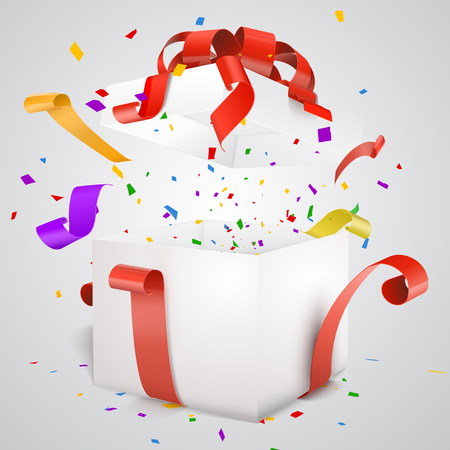 Open Red Gift Box and Confetti and streamers. Vector illustration on white background.