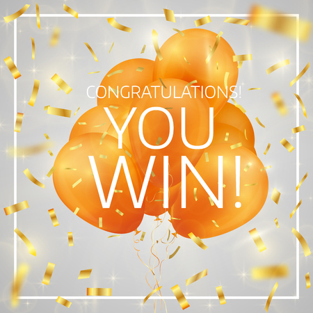 Balloons with confetti and text Congratulations you win. Winner concept. Eps 10 vector illustration