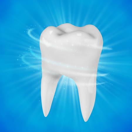 青の背景に白い歯のイラストです。