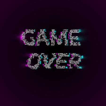 ベクトル ゲーム グリッチ VHS 効果とピクセル アート スタイルのフレーズ。ベクトルの背景
