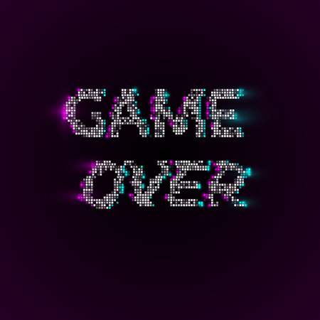 Vector game over phrase in pixel art style with glitch VHS effect. Vector background