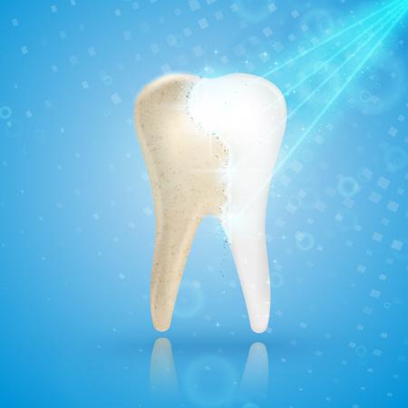 Tanden die 3d concept witten. Vergelijking van schone en vuile tand voor en na het bleken van de behandeling. Tanden bleken procedure, tandheelkundige gezondheid en mondhygià «ne poster voor tandheelkunde ontwerp