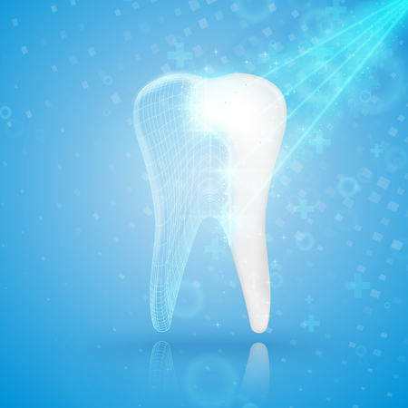 Abstract medical background. Tooth reconstruction. Dental clinic concept.