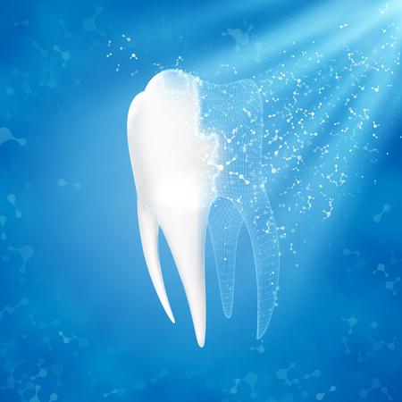 Astratto sfondo medico Ricostruzione del dente Concetto di clinica dentale. Archivio Fotografico - 91027779