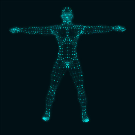 Abstract vector illustration of human body on black background. Vector illustration.