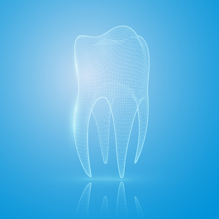 3D mesh tooth on a blue background. Tooth reconstruction concept. Standard-Bild - 91003922
