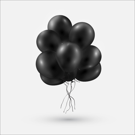 Black Shiny Balloons Bunch Isolated on white Background. Vector illustration.