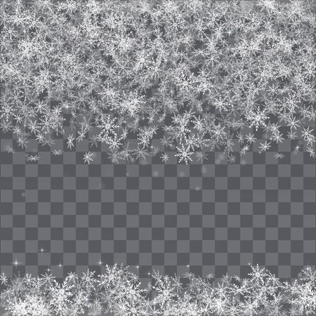 Falling snowflakes border on transparent background.  イラスト・ベクター素材