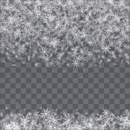 Falling snowflakes border on transparent background. Vectores