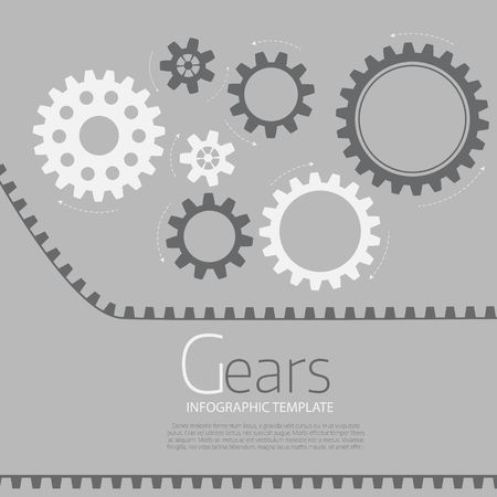 Vector infographic template with gears  on grey background. Business and industry concept with options, parts, steps, processes. Illusztráció