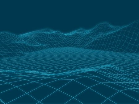 Abstract vector landscape background. Cyberspace landscape grid. 3d technology illustration.  イラスト・ベクター素材