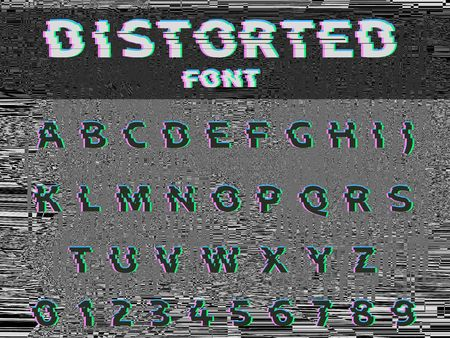 A Vector distorted glitch font. Trendy style lettering typeface. Dark latin letters on gray glitched background.
